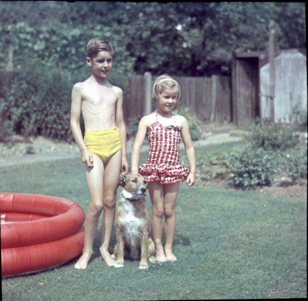 "Left to Right Stephen, ""Skipper"", Christine. In the garden of 8 Willis Avenue."