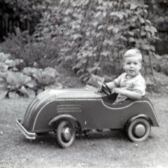 Stephen Last in Peddle Car.