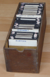 A typical tray of slides as they have always been stored.